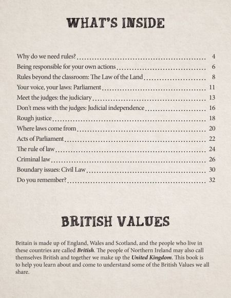 British Values It's The Law! contents page