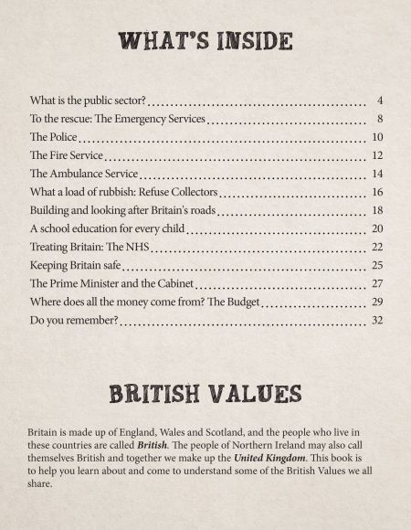 British Values Looking After Britain contents page KS2