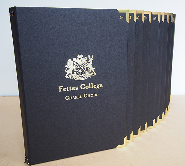 Fettes College Chapel Choir Folders with numbers