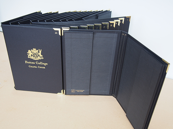 Fettes College Chapel Choir Folders showing pockets and cords